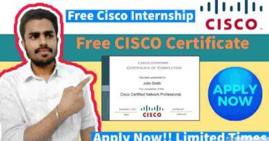 Cisco Free Internships   Cisco Virtual Internship   Get Free Certificate & Stipend