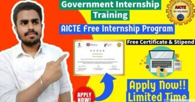 AICTE Free Internship 2021| Government Internship Program | Free Certificate & Stipend