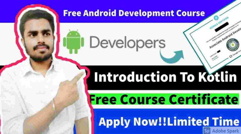 Introduction to Kotlin Course with Free Certificate | Free Kotlin course to develop Android App