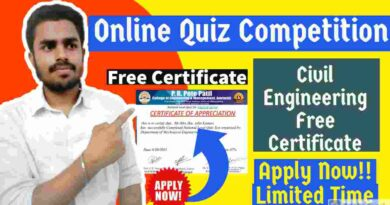 Free Online Quiz Competition 2021 With Free Certificates   Civil Engineering Free Certificate